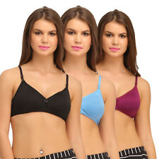 Clovia Set Of 3 Cotton Rich T-Shirt Bra With Cross-Over Moulded Cups (BRC242C30)