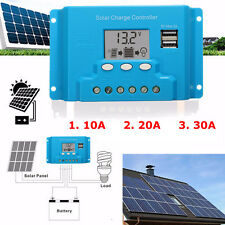10A 20A 30A LCD PWM Solar Panel Charge Controller Battery Regulator 12V/24V with