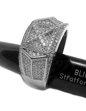 Mens Hip hop Bling Micropave X of Ice Silver Plated ring