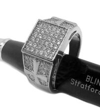 Mens Embossed Cross Micropave Square faced Hiphop Bling Ring - Silver Plated