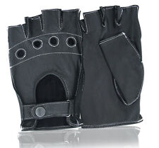 GENUINE SHEEP LEATHER CYCLING BICYCLE MOTORBIKE DRIVING GLOVES HALF FINGER