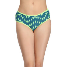 Clovia Cotton Mid-Waist Hipster with Contrast Elastic Band - Green (PN1030P17)