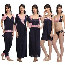 Clovia 7 Pc Satin Nightwear Set - Blue (NS0564P08)