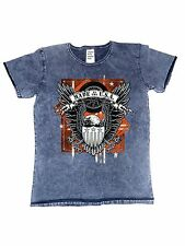 T-Shirt im Vintagestyle Batik con un Biker - Choppermotiv Modello Made in USA E