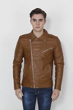 Branded Surplus Stylish Slim Fit Zara Biker Brown Faux Leather Jacket For Men