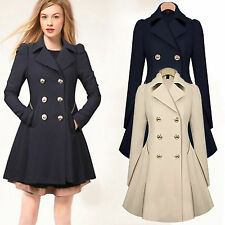 Damen Trenchcoat Parka Übergangs Mantel Jacke Lange Warm Winterjacke Coat Jacket