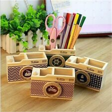 Wooden Camera Pattern Desk Pen Pencil Holder Storage Box For Office Decoration