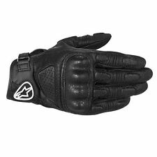 Alpinestars Mustang Piel Guantes Para Motociclista Negro Stealth Impermeable