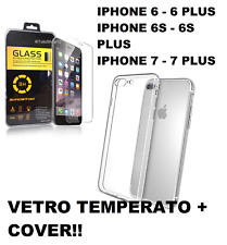 Pellicola in vetro temperato per Apple Iphone 6/6Plus/7/7 Plus/8 + Cover TPU