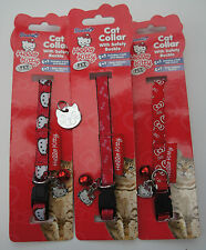 HELLO KITTY CAT COLLARS WITH ENGRAVED CAT FACE TAG, BELL & HELLO KITTY CHARM