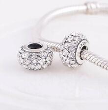 Diamond Murano Charm - Genuine 925 Sterling Silver -