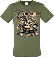 T Shirt Olive HD V Twin Biker chopper&oldschooldruck Model OLD MOTORCYCLES BABES