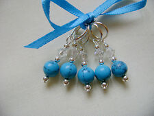 Hand Beaded Turquoise Gemstone Stitch Markers for Knitting or Crochet