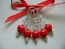 Hand Beaded Scarlet Heart Stitch Markers for Knitting or Crochet