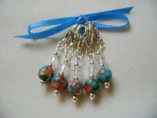 Hand Beaded Rainflower Stitch Markers for Knitting or Crochet