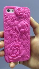 NEW 100% Soft Silicon 3D Rose engraved case cover for iphone 5 & 5S