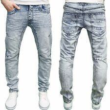 Eto Mens Designer Branded Blue Acid Wash Anti Fit Jeans, BNWT