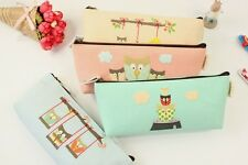 Girls Cute Animal Owl Canvas Pencil Case Stationery Cosmetic Make Up Bag Pouch