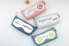 Girls Cute Happiness For You Canvas Pencil Case Stationery Cosmetic Make Up Bag