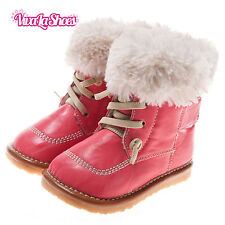 Girls Toddler Childrens Leather Squeaky Boots - Lace Fleece - Pink