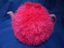 Funky fluffy tea cosy hand knitted in Wales HOT PINK