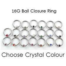 Klemmkugelring BCR Ball Closure Ring Chirurgisch Stahl 3mm Kristall 8