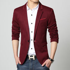 Indigo Casual Cotton Men Blazer Wine Red