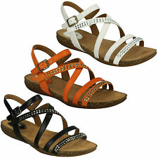AUTUMN PEACE LADIES CLARKS OPEN TOE SLINGBACK LIGHTWEIGHT BUCKLE LEATHER SANDALS