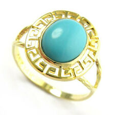 SOLID 14K GOLD GREEK KEY TURQUOISE OVAL RINGSizes 4 to 9.5 #R455