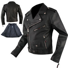 Marlon Brando Quality Leather Jacket Biker Motorcycle Motorbike Cowhide All Size