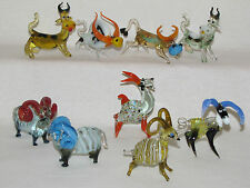figurines en pâte de verre collection décoration vache taureau âne bouc mouton