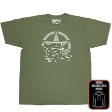 Willys MB WarZone Edition T Shirt Olive Green WWII Military Jeep US Army Truck