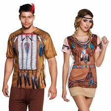 Photorealistic Red Indian Pocahontas Native American T Shirt Fancy Dress Costume
