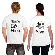 He is Mine She is Mine Couple Tshirts for Men and Women Set of 2 by Giftsmate