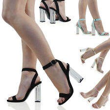 WOMENS PERSPEX CLEAR HEEL ANKLE STRAPPY BUCKLE LADIES PARTY PROM SANDALS SHOES