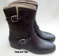 NEW UGG AUSTRALIA FRANCES WOMENS BLACK LEATHER BOOTS