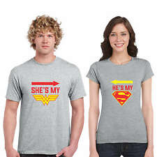 Superman Wonder Woman Couple Tshirts for Men and Women Set of 2 by Giftsmate