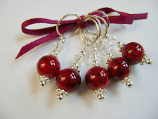 Hand Beaded Claret Marbled Stitch Markers for Knitting or Crochet