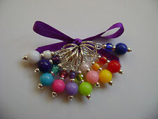 Hand Beaded Acrylic Round Stitch Markers for Knitting or Crochet