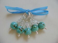 Hand Beaded Turquoise Stitch Markers for Knitting or Crochet