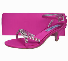 Ladies Wedding Party Heel Shoe Evening Sandal Diamante Fuchsia Pink Satin NEW