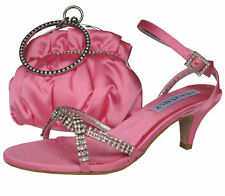 Ladies Wedding Party Low Heel Shoe Evening Sandal Diamante Candy Pink Satin NEW