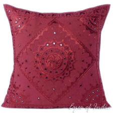 """16/20/24"""" BURGUNDY MIRROR EMBROIDERED DECORATIVE CUSHION PILLOW COVER Boho India"""