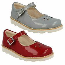 GIRLS CLARKS CROWN POSY PATENT LEATHER BUCKLE CUT OUT SMART FLAT BAR SHOES