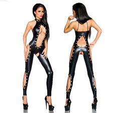 Wetlook Overalls Cutouts Chains Patent Leather Gothic Black Catsuit Jumpsuit