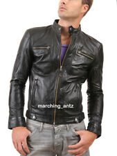 New Soft Genuine Leather Lambskin Motorcycle Biker Jacket Blazer Bomber Coat 507