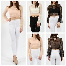 WOMENS LADIES KEYHOLE BACK MESH POLKA DOT LINED BUST FRILL LONG SLEEVE CROP TOP