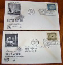 2 UN FDC IAEA United Nations First Day Covers International Atomic Energy Agency