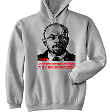 VLADIMIR LENIN SOVIET UNION 3 - NEW COTTON GREY HOODIE - ALL SIZES IN STOCK