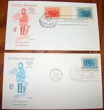 2 UN FDC United Nations First Day Covers 4 & 8 Cent World Refugee Year 1959-1960